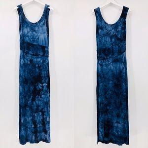 Tahari Tie Dye Maxi Ruche Waist Dress